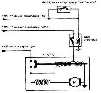 Схема включения стартера